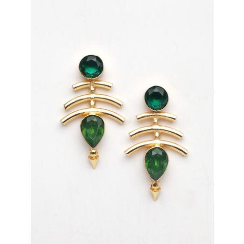 DIVA WALK Gold-Toned & Green Contemporary Studs