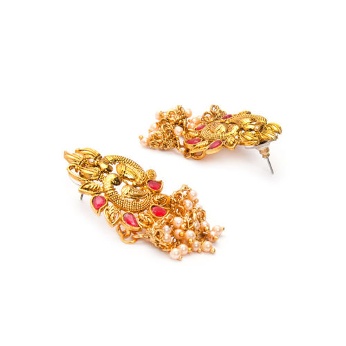 Rubans Gold-Plated & Pink Peacock Shaped Kundan Studded Handcrafted Jhumkas