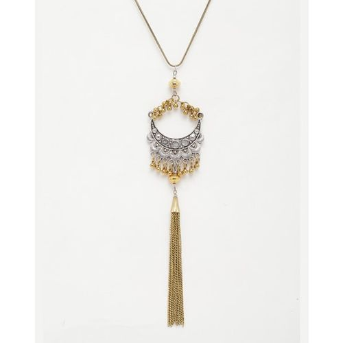 Diva Walk Silver-Toned Long Necklace with Chain Tassel