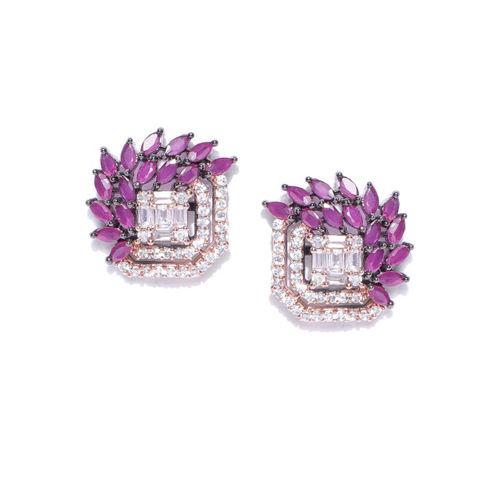 Priyaasi Purple & Gunmetal-Toned Rose Gold-Plated American Diamond-Studded Studs