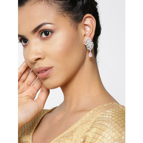Priyaasi Pink Silver-Plated AD-Studded Handcrafted Geometric Drop Earrings