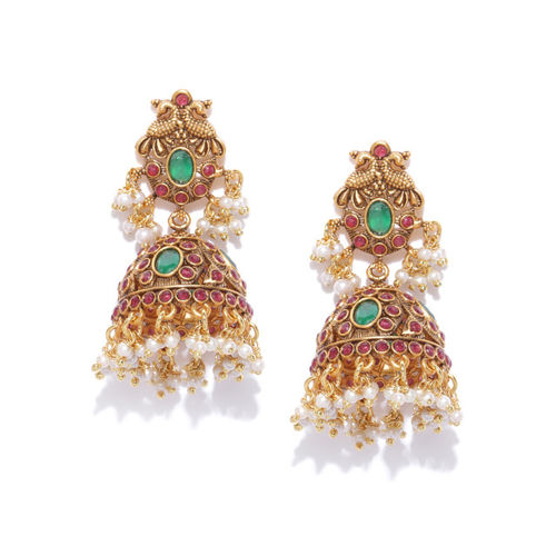 Priyaasi Maroon & Green Antique Gold-Plated Stone-Studded Dome-Shaped Jhumkas