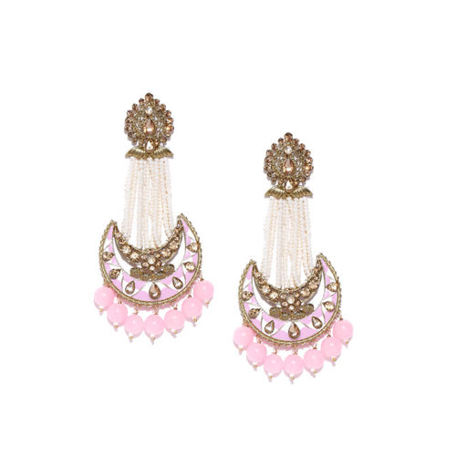 Priyaasi Pink & White Gold-Plated Hand Painted Kundan Studded Crescent Shaped Chandbalis