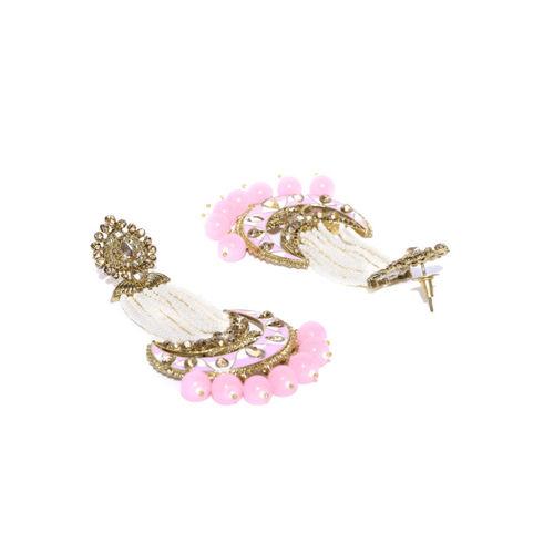 Priyaasi Pink & White Gold-Plated Hand Painted Kundan Studded Crescent Shaped Chandbalis