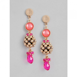 Accessorize Gold-Toned & Pink Classic Drop Earrings