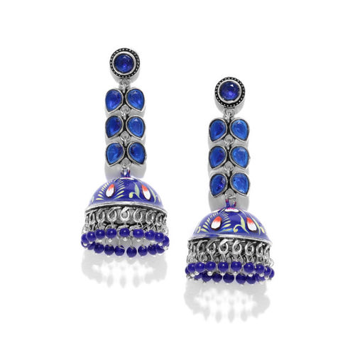 FIROZA Silver-Toned & Navy Blue Hand Painted Stone-Studded Dome Shaped Jhumkas