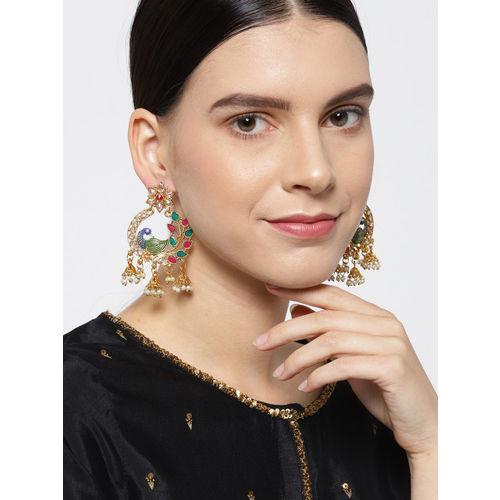 Priyaasi Magenta & Green Gold-Plated Peacock Shaped Drop Earrings