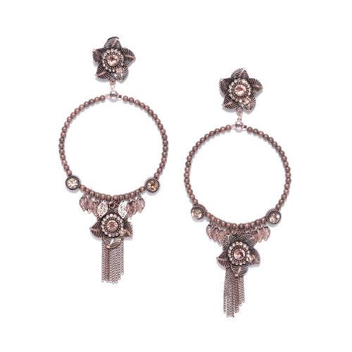 Priyaasi Brown Rose Gold-Plated Handcrafted Beaded Floral Drop Earrings