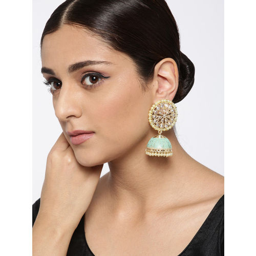 Melani Borsa Sea Green & Off-White Gold-Plated AD Studded Handcrafted Dome Shaped Jhumkas