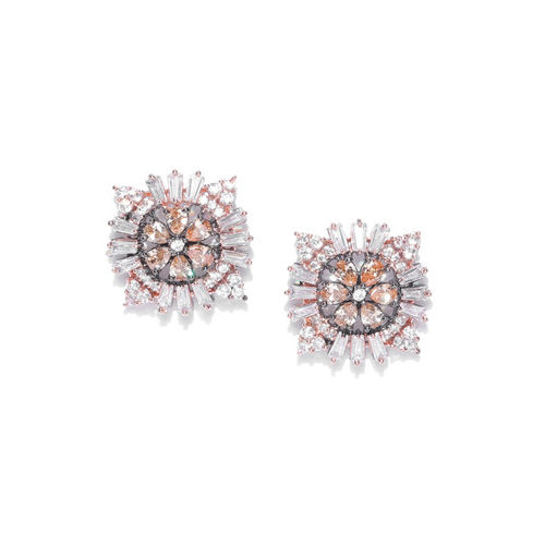 Priyaasi Gunmetal-Toned Gold-Plated American Diamond Studded Floral Studs