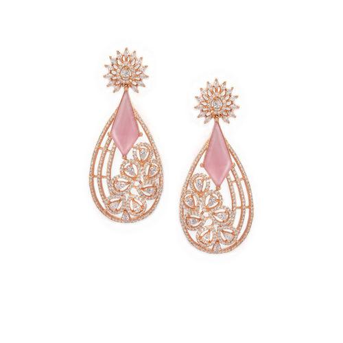 Rubans Rose Gold-Plated Handcrafted Teardrop Shaped Drop Earrings