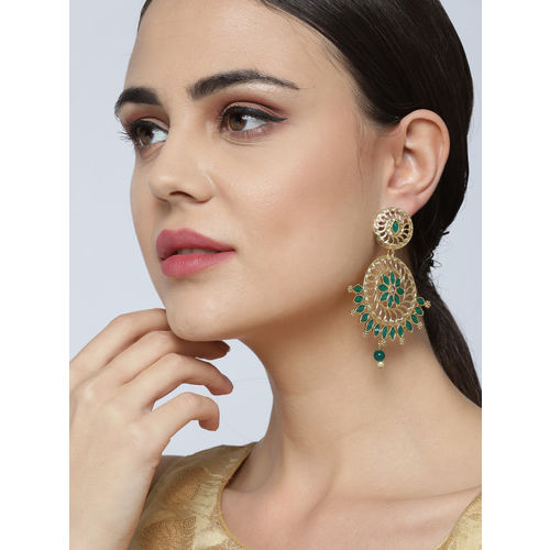 Priyaasi Green Gold-Plated Handcrafted Stone-Studded Circular Drop Earrings