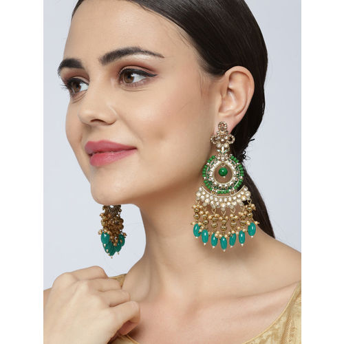 Priyaasi Green Gold-Plated Stone-Studded Handcrafted Circular Drop Earrings