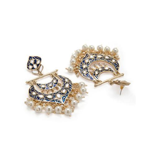Rubans Gold-Toned & Blue Crescent Shaped Handpainted Drop Earrings