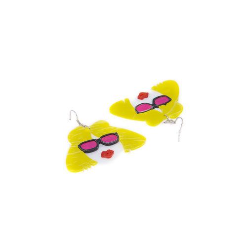 DIVA WALK Yellow Quirky Drop Earrings