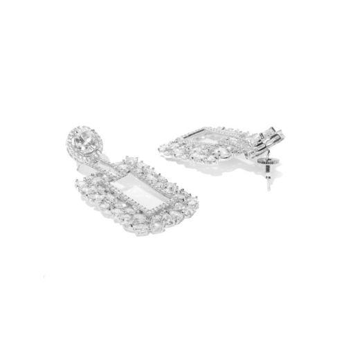 Priyaasi Silver-Toned Rhodium-Plated American Diamond Studded Geometric Drop Earrings