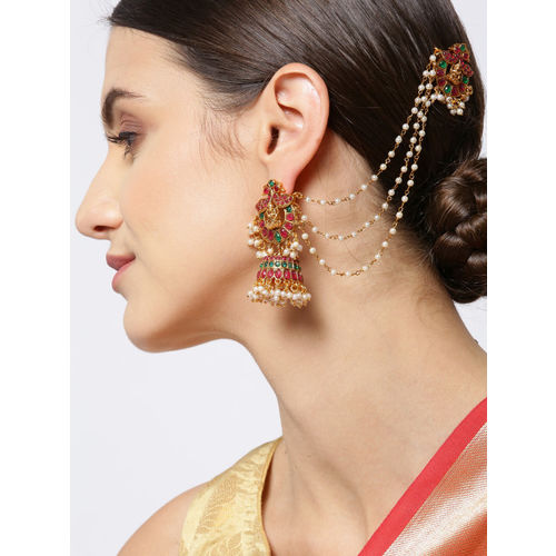 Priyaasi Maroon & Green Gold-Plated Stoned Studded Dome Shaped Jhumkas with Ear Chains