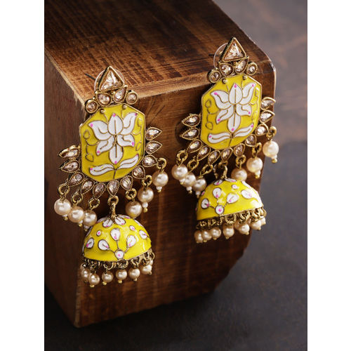Priyaasi Gold-Plated & Yellow Handcrafted Dome Shaped Jhumkas