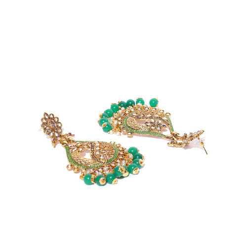 Priyaasi Green Gold-Plated Stone-Studded Beaded Hand-Painted Drop Earrings