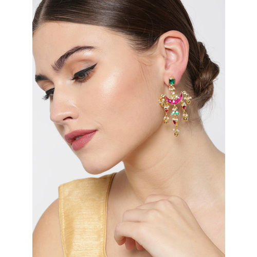 Priyaasi Burgundy & Green Gold-Plated Kundan Studded Beaded Crescent Shaped Drop Earrings