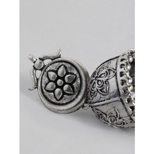 justpeachy Oxidized Silver-Plated Dome Shaped Jhumkas