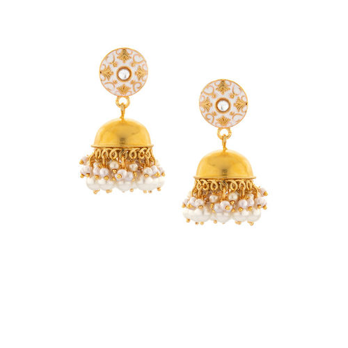 Rubans Women Gold-Plated White Handcrafted Classic Jhumkas