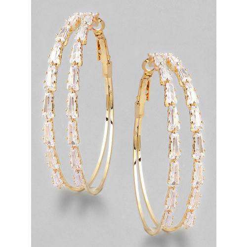 Rubans Gold-Plated Handcrafted American Diamond Stone Studded Circular Hoop Earrings