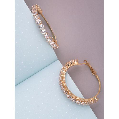 Priyaasi Gold-Plated Handcratefd Stone-Studded Circular Hoop Earrings