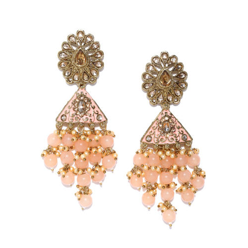 Priyaasi Peach-Coloured Antique Gold-Plated Kundan-Studded Hand Painted Drop Earrings
