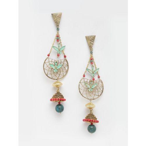 DIVA WALK Gold-Toned & Blue Contemporary Drop Earrings