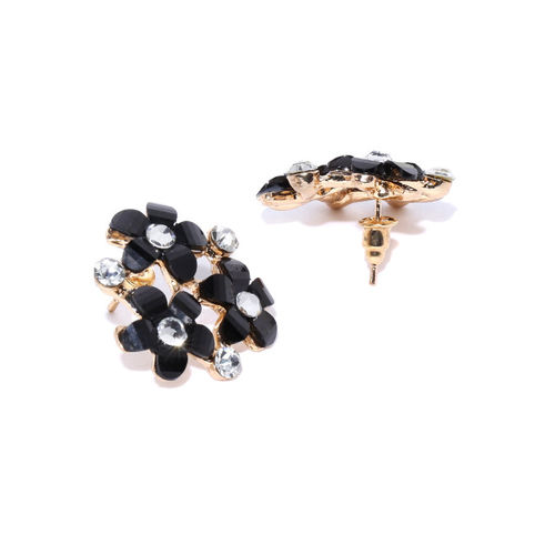 PRITA Black Gold Plated Stone Studded Handcrafted Floral Oversized Studs