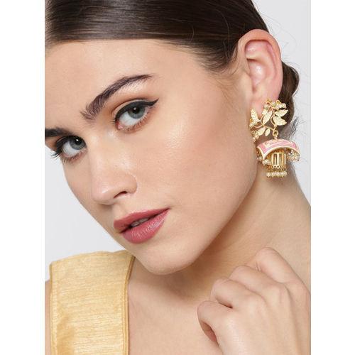 Priyaasi Pink & Off-White Gold-Plated Beaded Meenakari Leaf Shaped Jhumkas