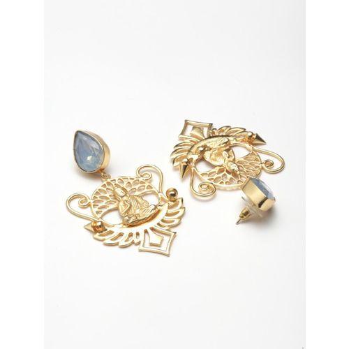 DIVA WALK Gold-Toned Contemporary Drop Earrings