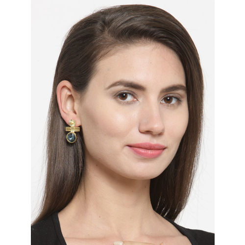 DIVA WALK Women Gold-Plated Blue Contemporary Drop Earrings