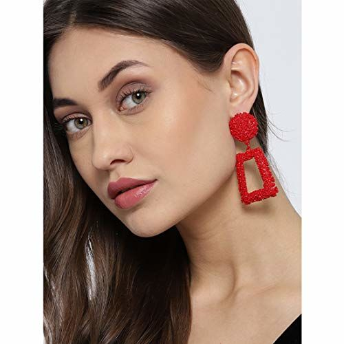 Jewels Galaxy Red-Toned Copper-Plated Handcrafted Geometric Drop Earrings