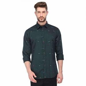 Allen Solly Men's Printed Slim fit Casual Shirt (ASSFWSPFN06792_Green 42)