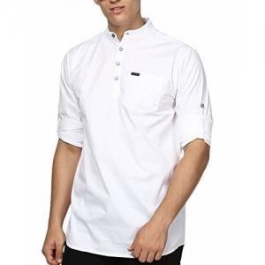 Urbano Fashion Men's White Cotton Full Sleeve Short Kurta Shirt with Mandarin Collar (shirtsolchikur-halfplc-whi-40)