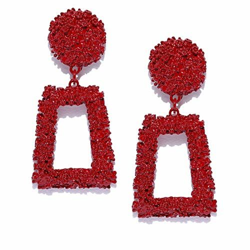 Jewels Galaxy Splendid Geometric Red Brilliant Dangle Earrings For Women/Girls
