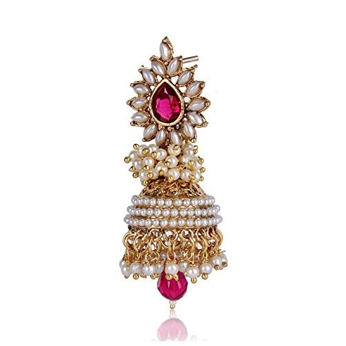 Shining Diva Pink White Pearl Traditional Jhumki Earrings For Women (Pink) (sd6579er)