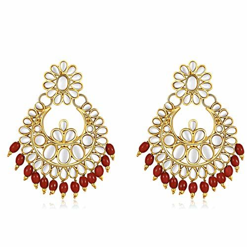 Jewels Galaxy Designer Kundan Gold Plated Chandelier Earrings For Women/Girls