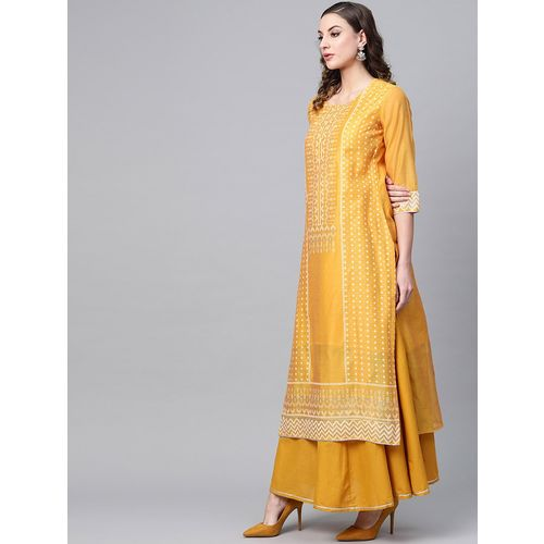 tulsattva block print kurta skirt set