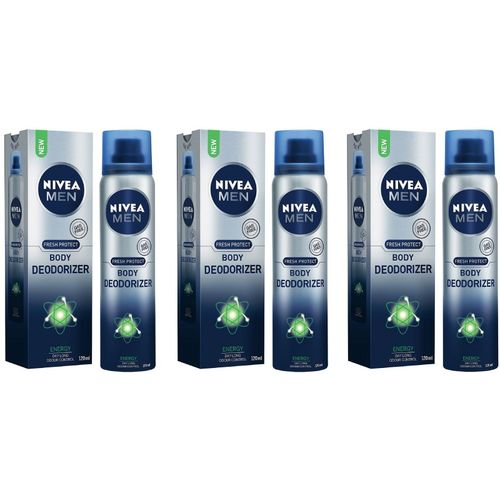 Nivea Men Energy Fresh Gas Free Body Deodorizer 120ML Each (Pack of 3) Deodorant Spray - For Men(360 ml, Pack of 3)