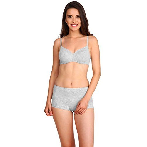 Jockey Grey Cotton Solid Non-Wired Padded Bra