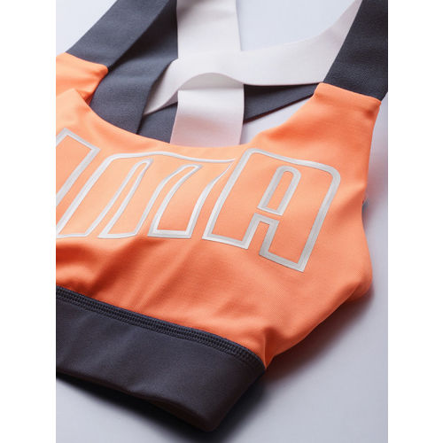 Puma Orange Printed Non-Wired Lightly Padded DryCELL Feel It Training Sports Bra 51828911