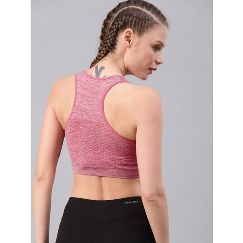 HRX by Hrithik Roshan Seamless Pink Non-Wired Lightly Padded Rapid-Dry Yoga Sports Bra 3461