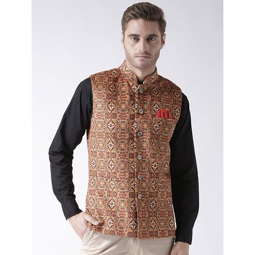 Hang Up brown cotton nehru jacket