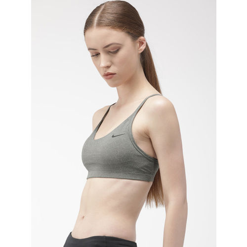 Nike Charcoal Grey Solid AS W NK VICTORY FAVORITES DRI-FIT Training Sports Bra CJ5232-091