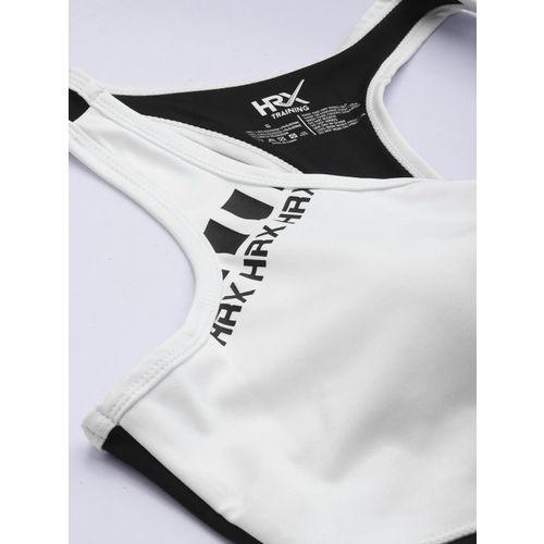HRX by Hrithik Roshan White Soild Medium Support Rapid Dry Training Sports Bra
