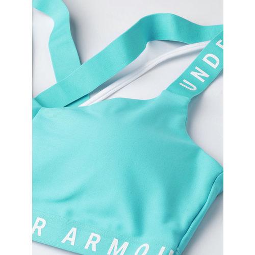 UNDER ARMOUR Blue Solid Wordmark Strappy Sports Bralette Bra 1325613-400