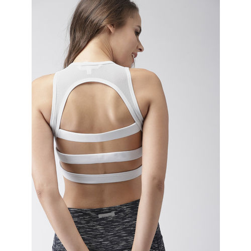 Mast & Harbour White Solid Non-Wired Lightly Padded Sports Bra
